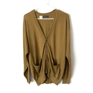 BARNEY'S Green V-Neck Button Cardigan Sweater S